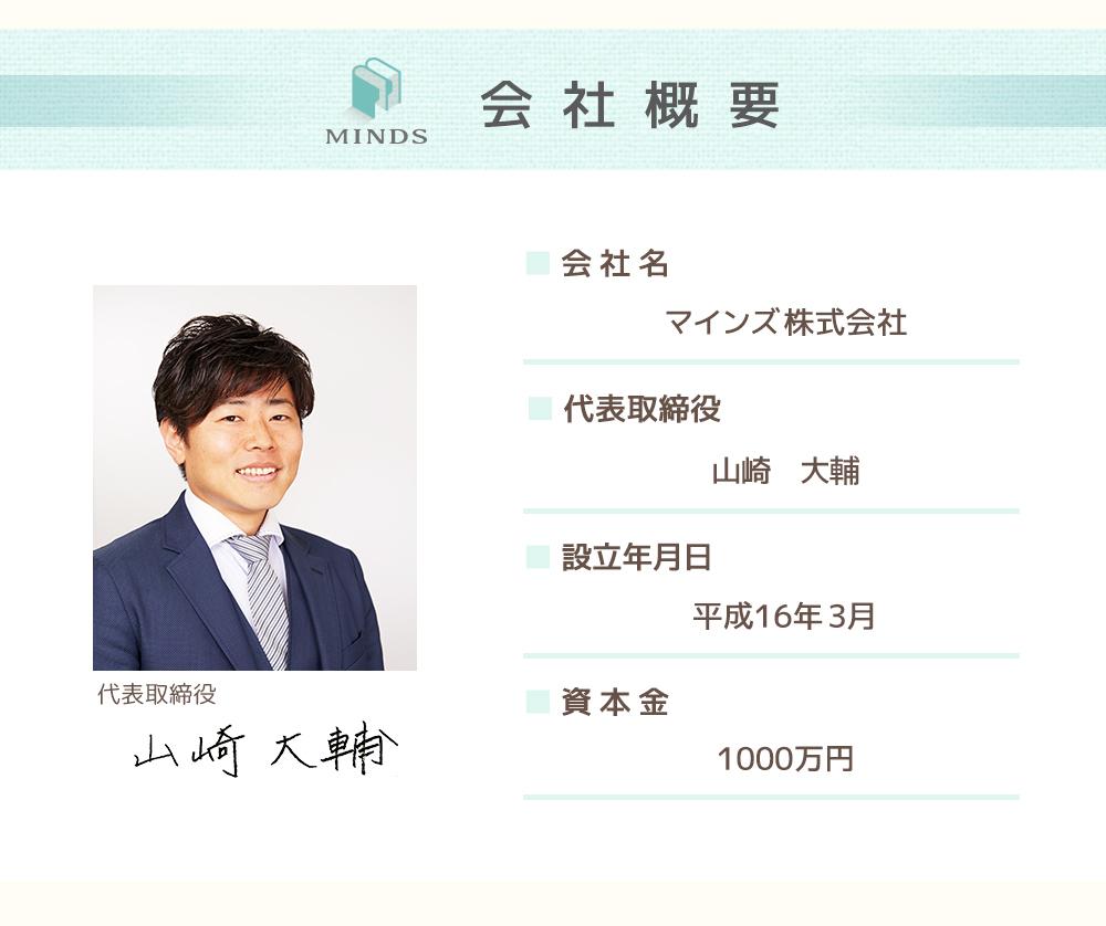 会社概要 会社名 株式会社マスターマインズ 代表取締役 山崎大輔 設立年月日 平成16年3月 資本金1,000万円